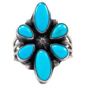 Navajo Emma Lincoln Signed Turquoise Sterling Ring